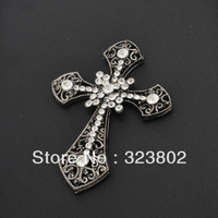 74mm*56mm Black Alloy Cross with White Rhinestone Decoration for DIY Jewelry Supply Handmade Case  Accessories 1PCS cabochon