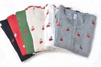 FS843 women's Autumn slim cherry pattern o-neck sweater cardigan