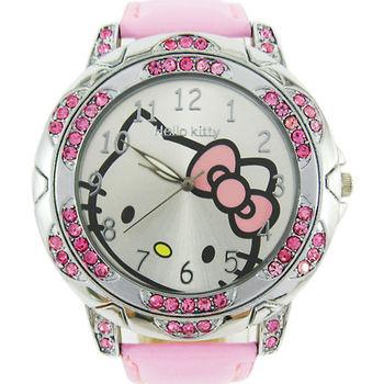2012 New Fashion Pink Cuff Hello Kitty Wrist Watch Children Fashion Leather Crystal Quartz sports watches W235I Free shipping