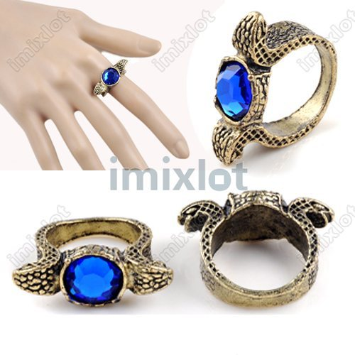 "Wholesale Blue Rhinestone Crystal Double Heads Snake Finger Ring 8"" Vintage Antique Bronze Jewelry 50pcs(China (Mainland))"