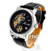 Золотой тон скелет механические ручные Ветер мужчины часы, черной кожи группа наручные часы