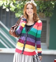 Best Selling!!Fashion Women Colorful Stripes Deep V-neck Knit Cardigan Sweater +free shipping
