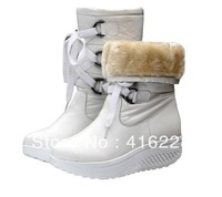 Free shipping Cowhide leather warm shook snow boots  in stock, heavy-bottomed muffin with white buckle boots AS764