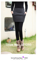 winter Plus size slim hip short  Skirts with zipper allmatch wool blend Skirts black grey  Free shipping