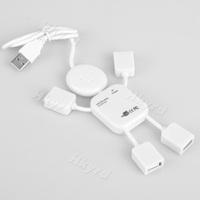 White USB 2.0 Human Man Robot 4 Port Hi-speed White mini HUB Fit For PC Laptop F0741