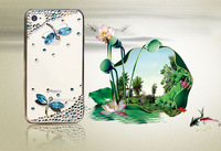 Free shipping newest Crystal skin case exquisite Dragonfly diamond case rhinestone cover for iphone4 4s skin protective cover