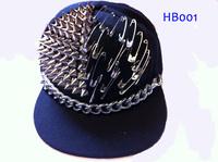 2012 fashion Punk rivet hiphop hip-hop baseball flat brim hat ,fashion pin baseball cap