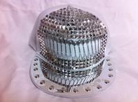 2012 superstar fashion baseball cap  punk rivet hip-hop baseball flat brim hat  spike hat