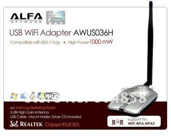 USB ANTENNA Alfa AWUS036H USB WiFi Adapter Wireless G +6dBi Antenna REALTEK RTL8187L