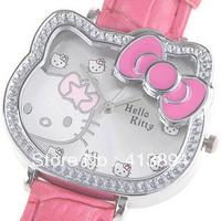 Most Popular! Fashion Pink Bowknot Hello Kitty Children Kids Girl Lady Quartz Wrist  Watch