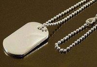 925 sterling silver dogtag pendent necklace for MEN 24inch /men`s  necklace