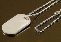 925 sterling silver dogtag pendent necklace for MEN 24inch /men`s  necklace
