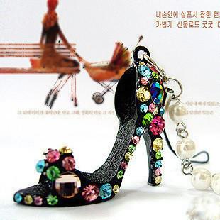 Free shipping Crystal High-heel Shoe Key Chains Pearl Strand Pendant Rhinestone Mobile Phone Strap Cellphone Key Ring