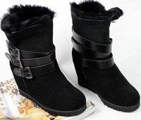 Winter Women Snow Ankle Boots Australia Brand Genuine Sheepskin Leather Real Fur for Outdoor Platform Wedge Elevator Shoe WB6013