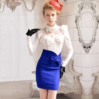 Женское платье pink slim white collar a woolen one-piece dress pink color s/m/l/xl