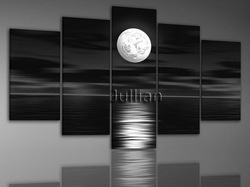 framed hand-painted 5 panel set abstract wall art home decoration Moon Sea oil painting on canvas christmas gifts FA03PS1000(China (Mainland))