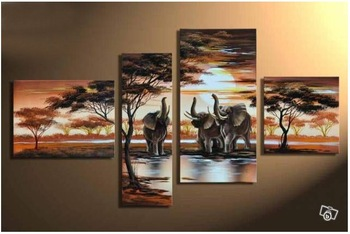 hand-painted wall art Hill African elephants animals decoration abstract Landscape oil painting on canvas 4pcs/set mixorde
