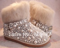 Newest Designer Fashion Women Winter Pearl Crystal Rhinestone Rabbit Fur Boots Ankle Boots Flat Shoes