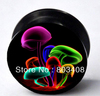 colorful  mushroom  acrylic ear plug flesh tunnel body jewelry  mixing 10 size EAR066