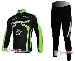 2011 MERIDA green black cycling racing Team wear Winter Thermal Fleeced Long Sleeve Jersey & Pants set Bike cycle Clothes tights(China (Mainland))