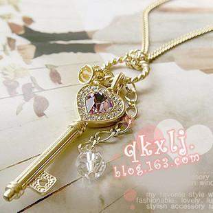 fashion Jewelry wholesale Amethyst love golden crown statement key pendant Necklace women D0002(China (Mainland))