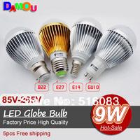 Quality assurance LED Bubble Ball Bulb E27 E14 GU10 B22 CREE 9W 12W 15W 110V 220V LED downlight Bulb Lamp 5pcs/lot