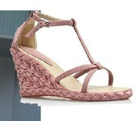 2013 HOT Buckled Women sandals for Ladies' wedge sandals & blue, pink