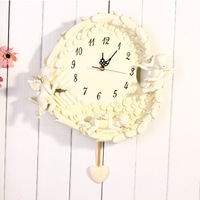 MOQ:1piece!!! EMS free shipping high quality resin material three angels on the wing wall clock