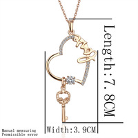 2013 jewelry!Free shipping fashion 18k yellow gold plated Heart key pendant necklace women jewelry SWA elements wholesale N075