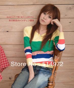 Best Selling!!Women Bats sweater long sleeve stripe Pullover Knitwear+free shipping