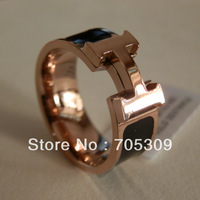 Free shipping!! 14K Rose gold plated Titanium steel Classic ring   SR130B