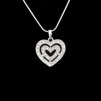 Min.order is $15 (mix order),Fashion Alloy Crystal Silver Elegant Hollow-out Heart Pendant Necklace,1 dollar item,Free Shipping