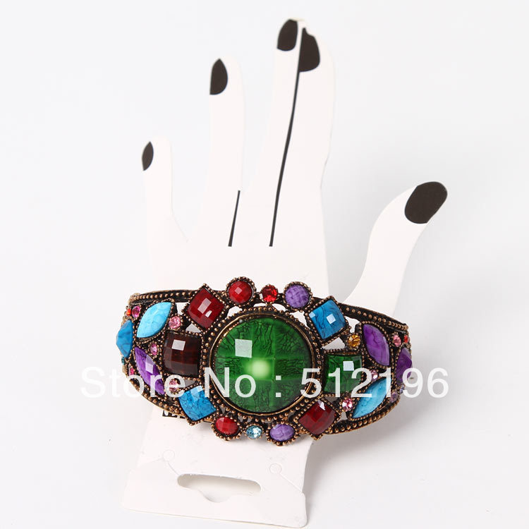 ABL0092, Free Shipping! 15pcs/lot, Limited Edition Colorful Jewelled Bracelet Acrylic Bracelet(China (Mainland))