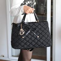 Free shipping High quality women's handbag nylon oxford fabric lady's bag plaid puff bow handbag