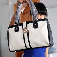 Free shipping women's handbag candy color motorcycle bag color block handbag messenger bag