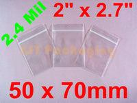 "1000 Clear Ziplock Poly Reclosable Zipper Bags 2.4 Mil_2"" x 2.7""_50 x 70mm"