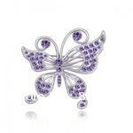 Purple Butterfly Flaming Crystal 18K Gold or Silver Alloy Brooch Corsage(China (Mainland))
