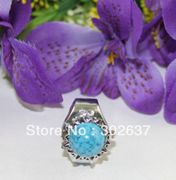 FREE SHIPPING 5PCS Turquoise Spot Dome Flower Pocket elastic Ring Watch #22410