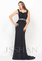 11P051 Sweetheart Ruffled Straps Rhinestoned Chiffon Elegant Gorgeous Luxury Unique Prom Evening Dress Long Evening Dresses