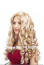 hot new fashion halloween/party Adult Festival cosplay full wig lady's women's Naomi long wavy blonde hair vogue curly wigs(China (Mainland))