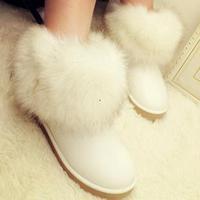 Winter big white snow boots two ways fox fur waterproof short boots,big fox fur boots