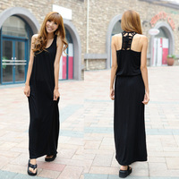 2012 solid color 100% cotton modal tank  black full-length  dress beach dress