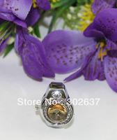 FREE SHIPPING 5PCS Yellow Rhinestone round Pocket elastic Finger Ring Watch #22424