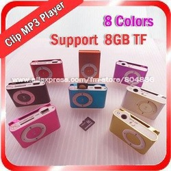 Wholesale clip mp3 music player with card slot mini mp3 player 8 colors &amp; Free Shipping(China (Mainland))