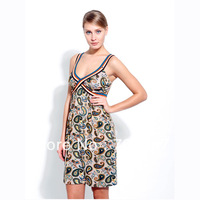 summer women's sexy deep V-neck spaghetti strap print one-piece dress