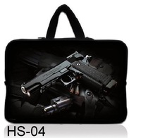 "Wholesale NEW Black gun 15"" 15.4 15.6 Inch Laptop Notebook Sleeve bag Case Cover Pouch Skin Protector -free shipping"