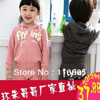 2012 female child autumn child baby children's clothing sweatshirt harem pants casual set sports cy1809