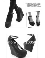 Free Shipping 11cm Heels Fashion Sexy Women &amp;#39;s Black Wedge Strappy Platform High Heel Buckle Shoes