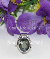 FREE SHIPPING 5PCS White Flower Oval Pocket Elastic Finger Ring Watch #22437