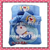 3pcs Bedding Set Cartoon Doraemon Blue Cotton children Kid Bedding Free Shipping